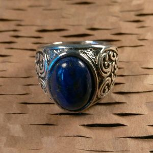 Other - Tibet Silver Blue Stone Design Ring-Size 9